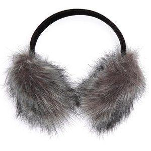 Surell Faux Fur Velvet Band Earmuff in Silver Fox